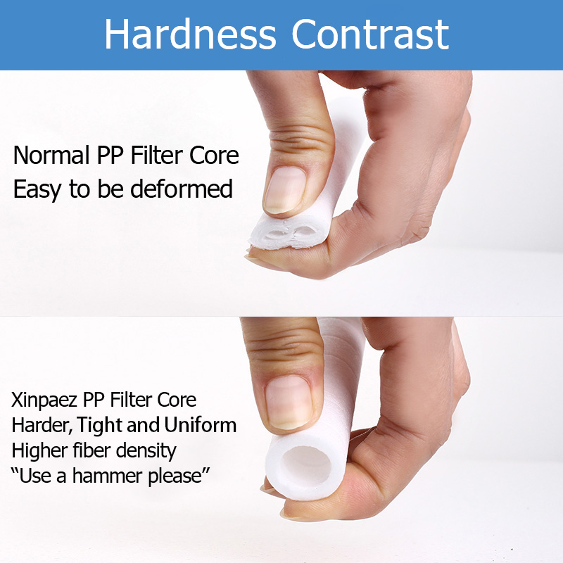 Filter core hardness contrast